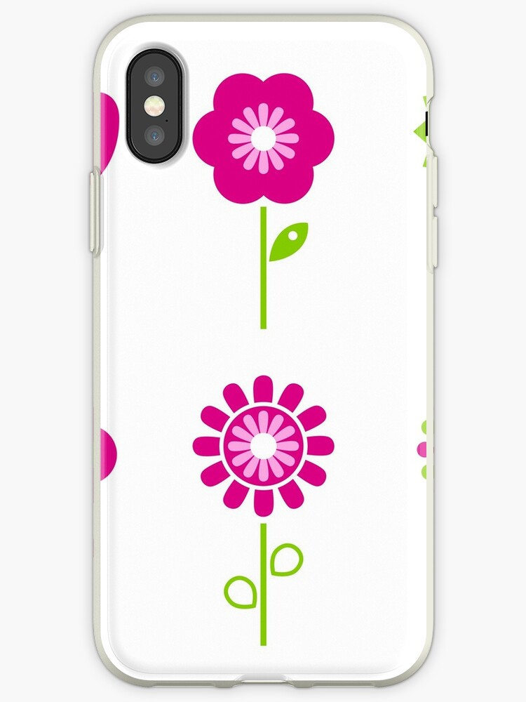 Collection of green and pink retro spring flowers by Bee and Glow Illustrations Shop