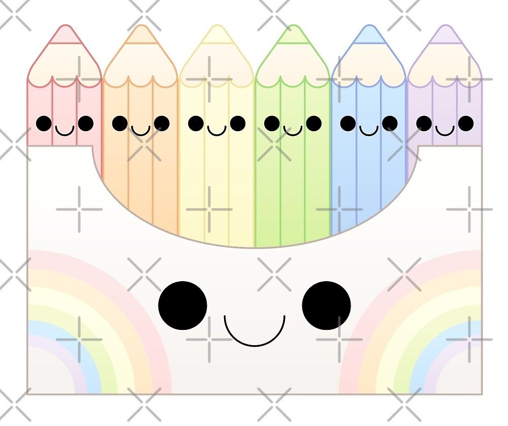 kawaii pastel colored pencil box by kittybox