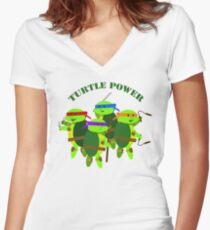 Turtle Power TMNT Women's Fitted V-Neck T-Shirt