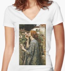 John William Waterhouse - The Soul Of The Rose  Women's Fitted V-Neck T-Shirt