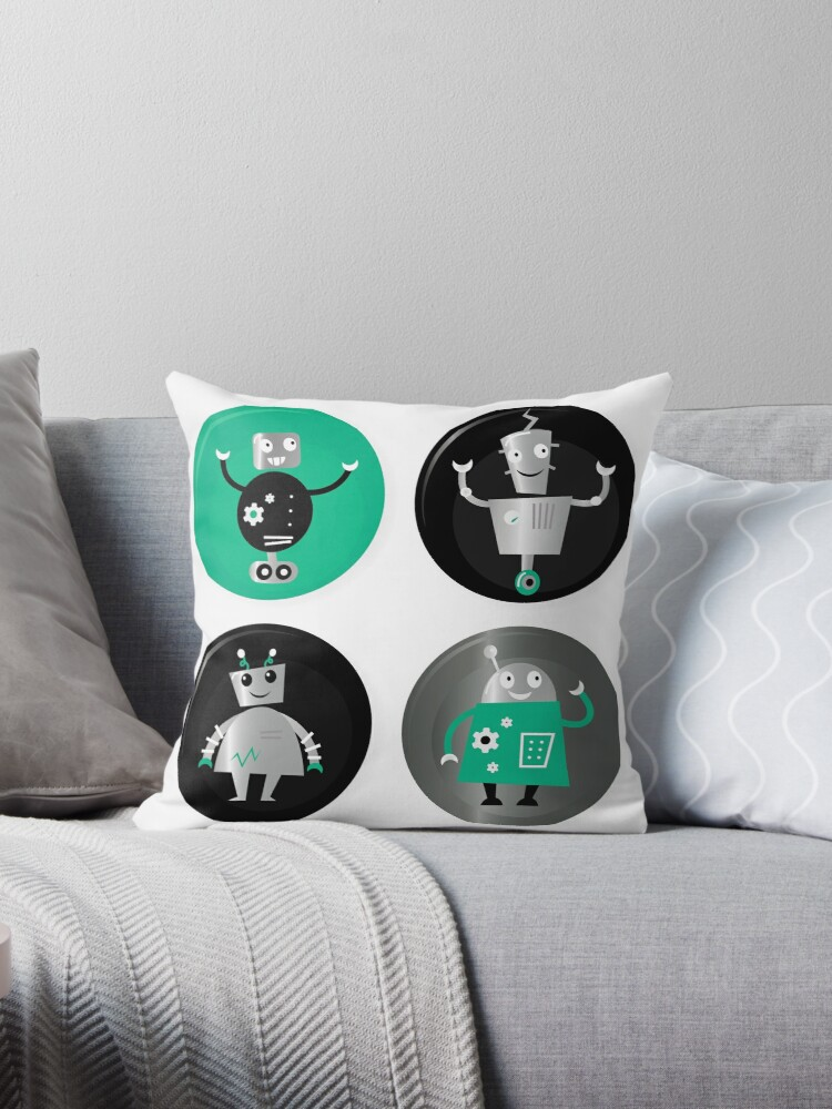 Happy robots friends badges - Designers Special Edition in our Shop by Bee and Glow Illustrations Shop