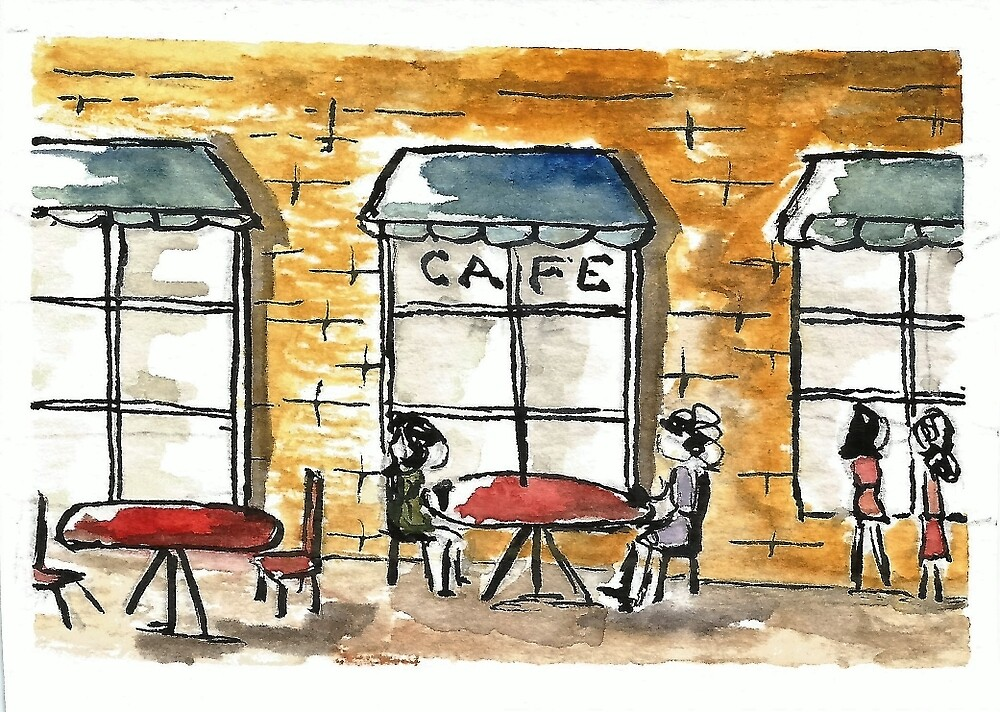 Outdoor Sidwalk Cafe Watercolor by DianePalmerArt