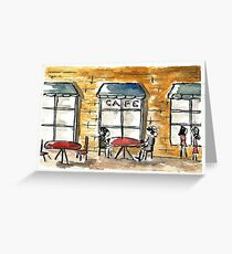 Outdoor Sidwalk Cafe Watercolor Greeting Card