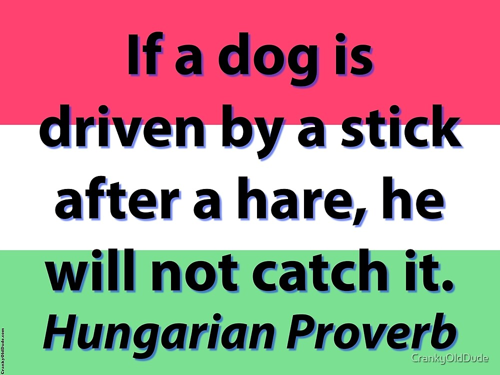 If A Dog Is Driven - Hungarian Proverb by CrankyOldDude