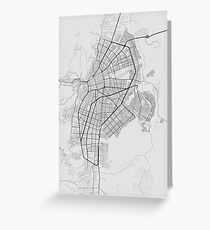 Cali, Colombia Map. (Black on white) Greeting Card