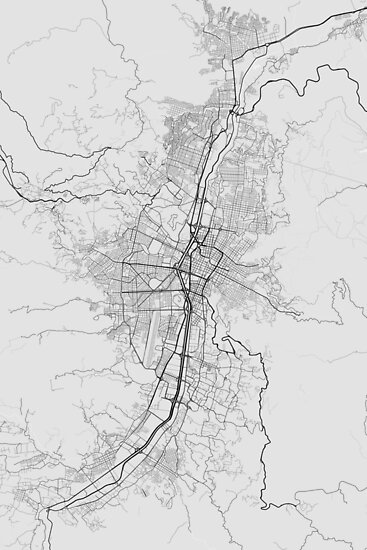 Medellin, Colombia Map. (Black on white) von Graphical-Maps