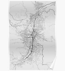 Medellin, Colombia Map. (Black on white) Poster
