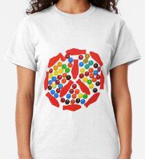 Camiseta clásica Signo de paz de color caramelo de arco iris
