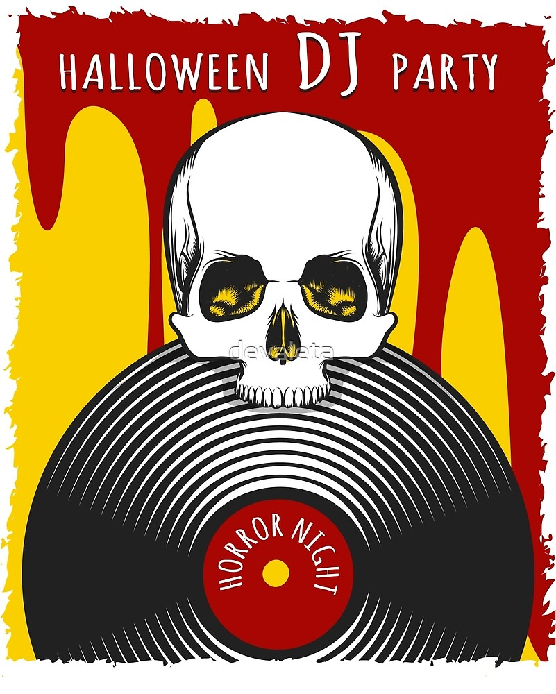 Halloween DJ Party Poster by devaleta