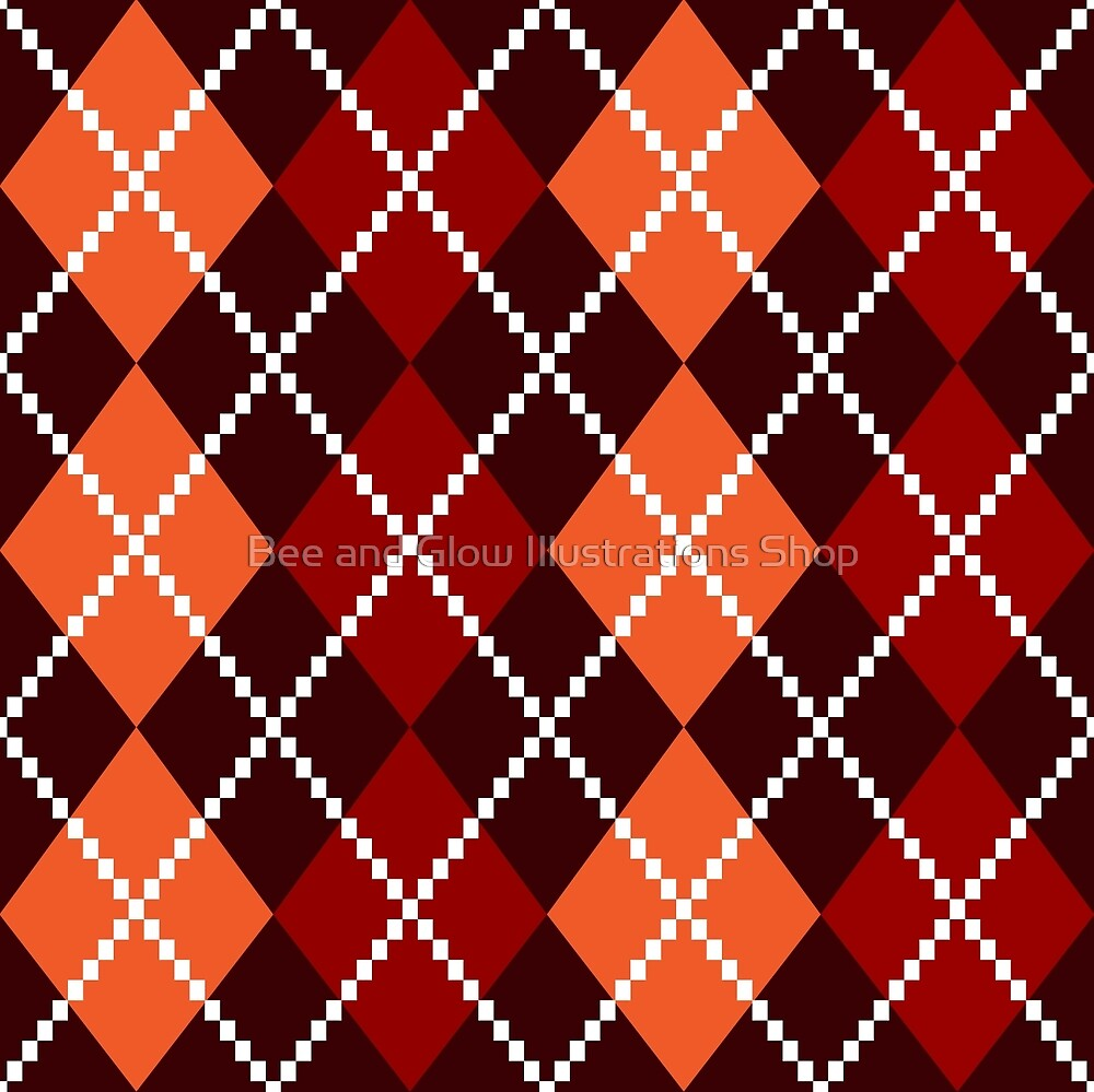 Retro colorful colorful argile pattern - orange and red by Bee and Glow Illustrations Shop