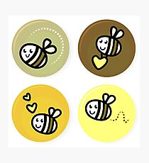 Vector set of happy bee characters Photographic Print