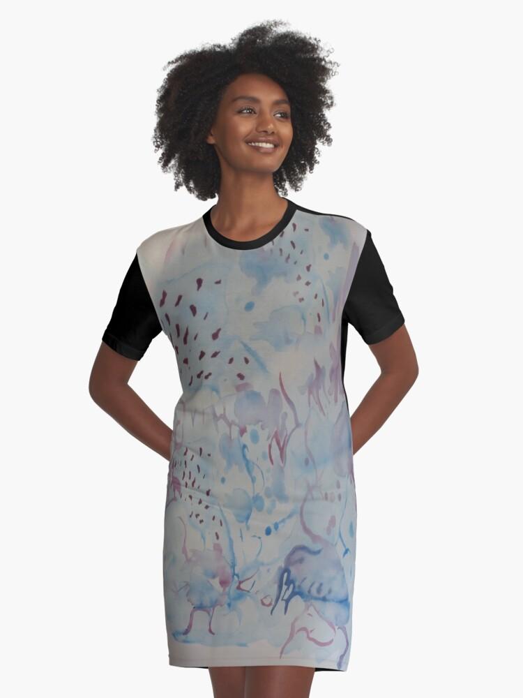 Aquarel blue Graphic T-Shirt Dress Front