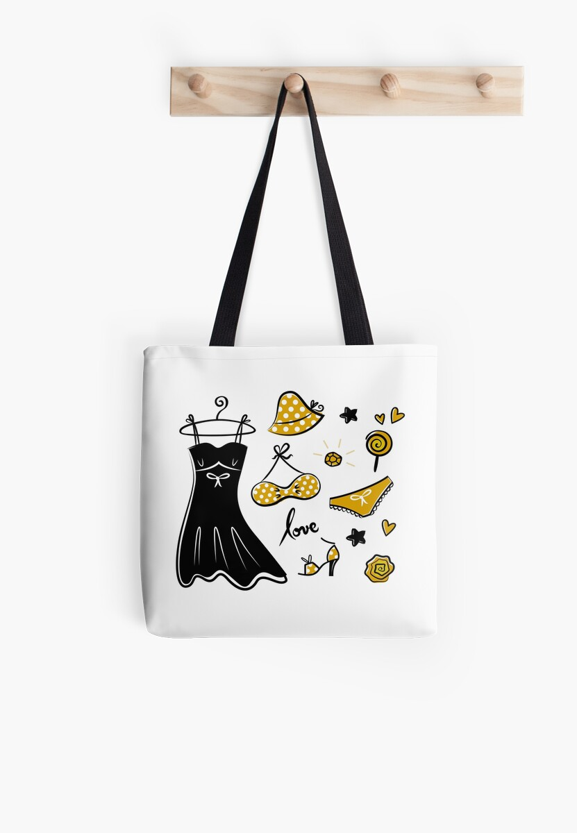 Vector doodle set of yellow fashion accessories by Bee and Glow Illustrations Shop