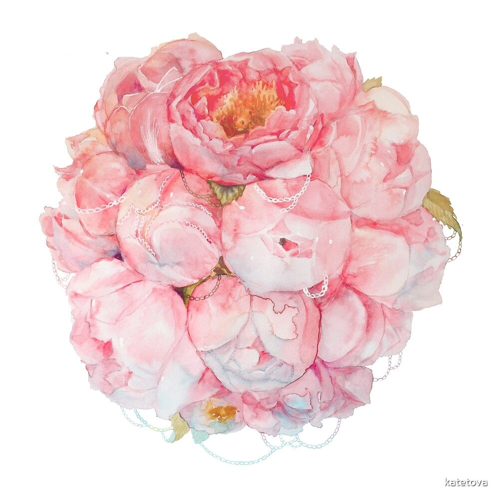 Tender watercolor bouquet of peonies  by katetova