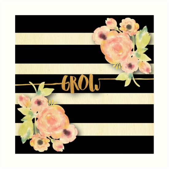 Stripes,beige,black,Grow,gold,text,typography,water color,hand painted, flowers,peonies by love999