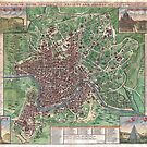 Vintage Map of Rome Italy (1721) by alleycatshirts