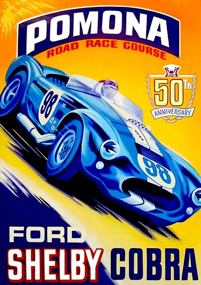 POMONA SHELBY COBRA; Road Racing Print by posterbobs