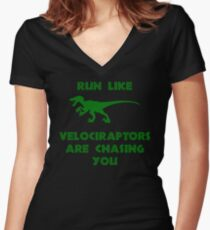 Run Like Velociraptors Are Chasing You Women's Fitted V-Neck T-Shirt