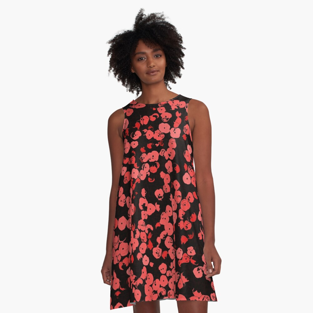 Red, pink sequins on black, pattern A-Line Dress Front