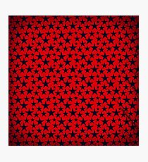 Blue stars on grunge textured bold red background Photographic Print