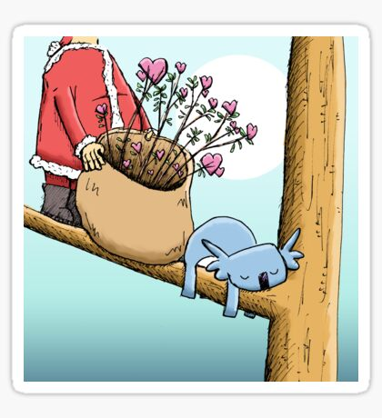 Cute Sleeping Koala and Father Christmas Sticker