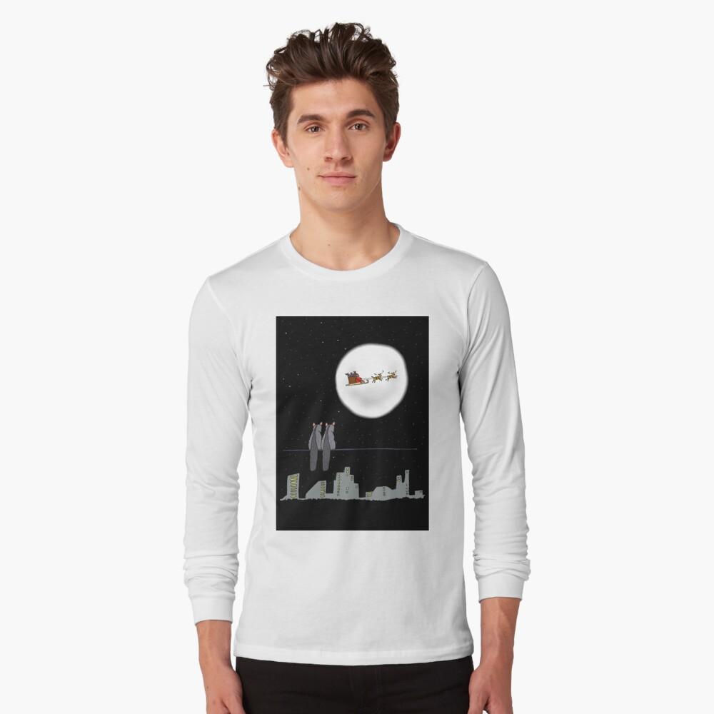Two Brushtail Possums watching Father Christmas Long Sleeve T-Shirt