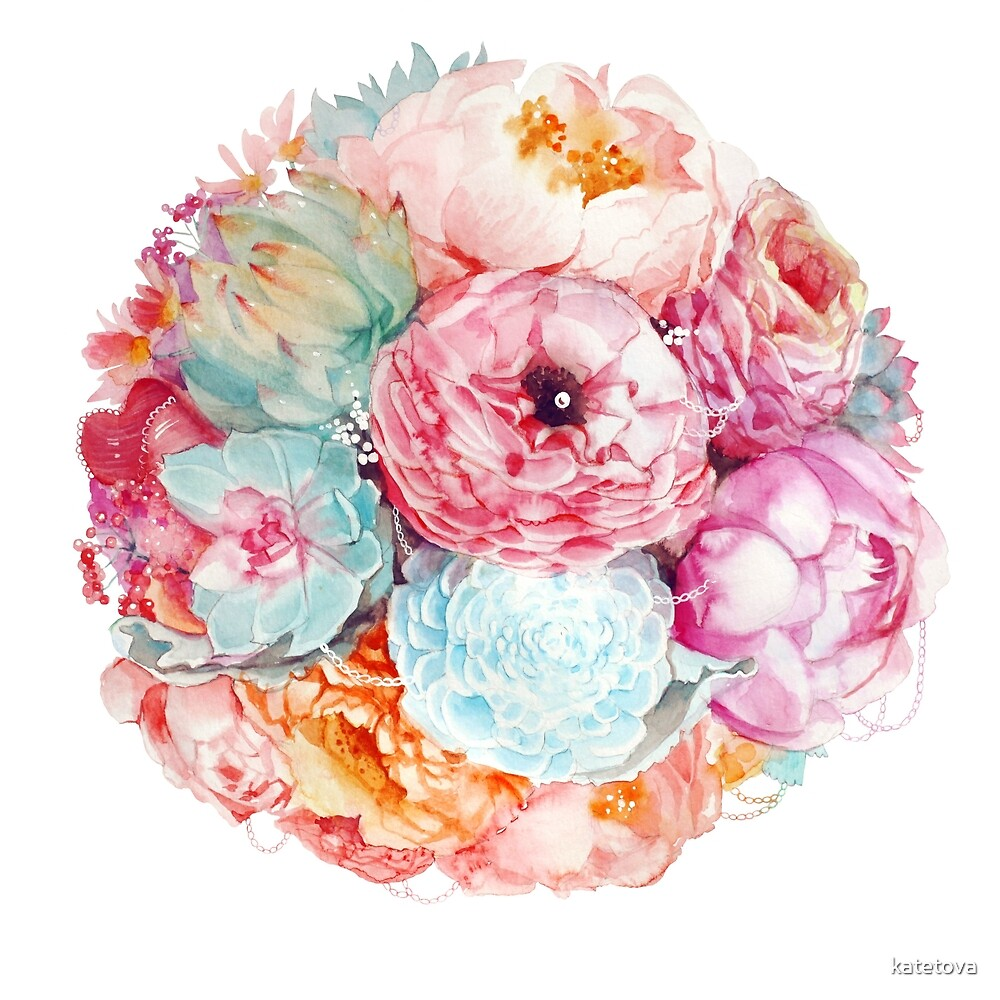 Spring Bouquet Watercolor Flowers Art by katetova