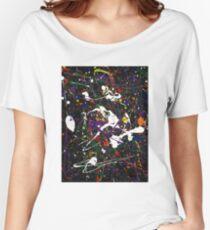 black multicolor splat Women's Relaxed Fit T-Shirt