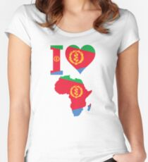 I love Eritrea flag Africa map t-shirt Women's Fitted Scoop T-Shirt