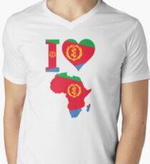 I love Eritrea flag Africa map t-shirt Men's V-Neck T-Shirt
