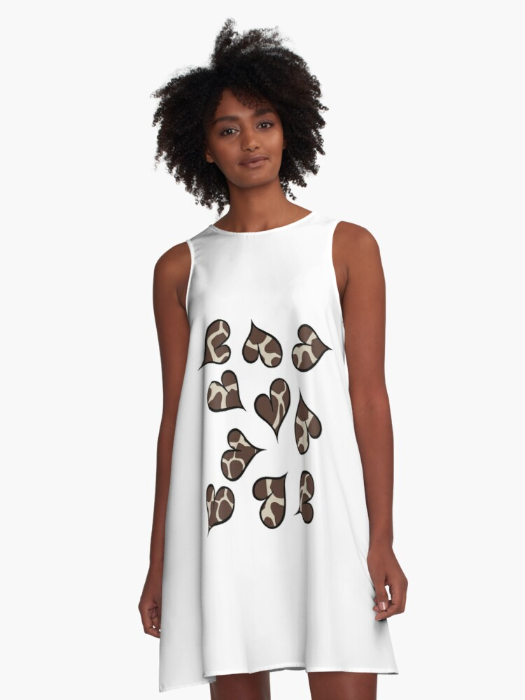 Animal print Hearts A-Line Dress Front