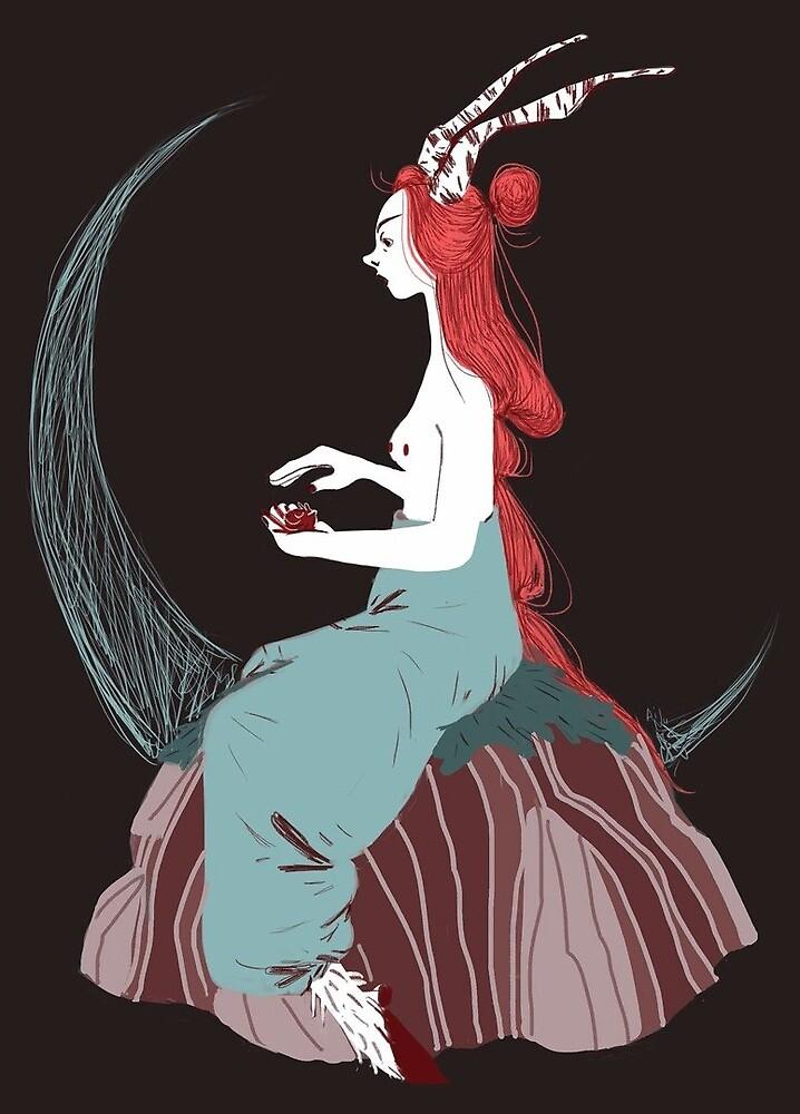 Chimera mermaid girl sitting on a stone by napavi