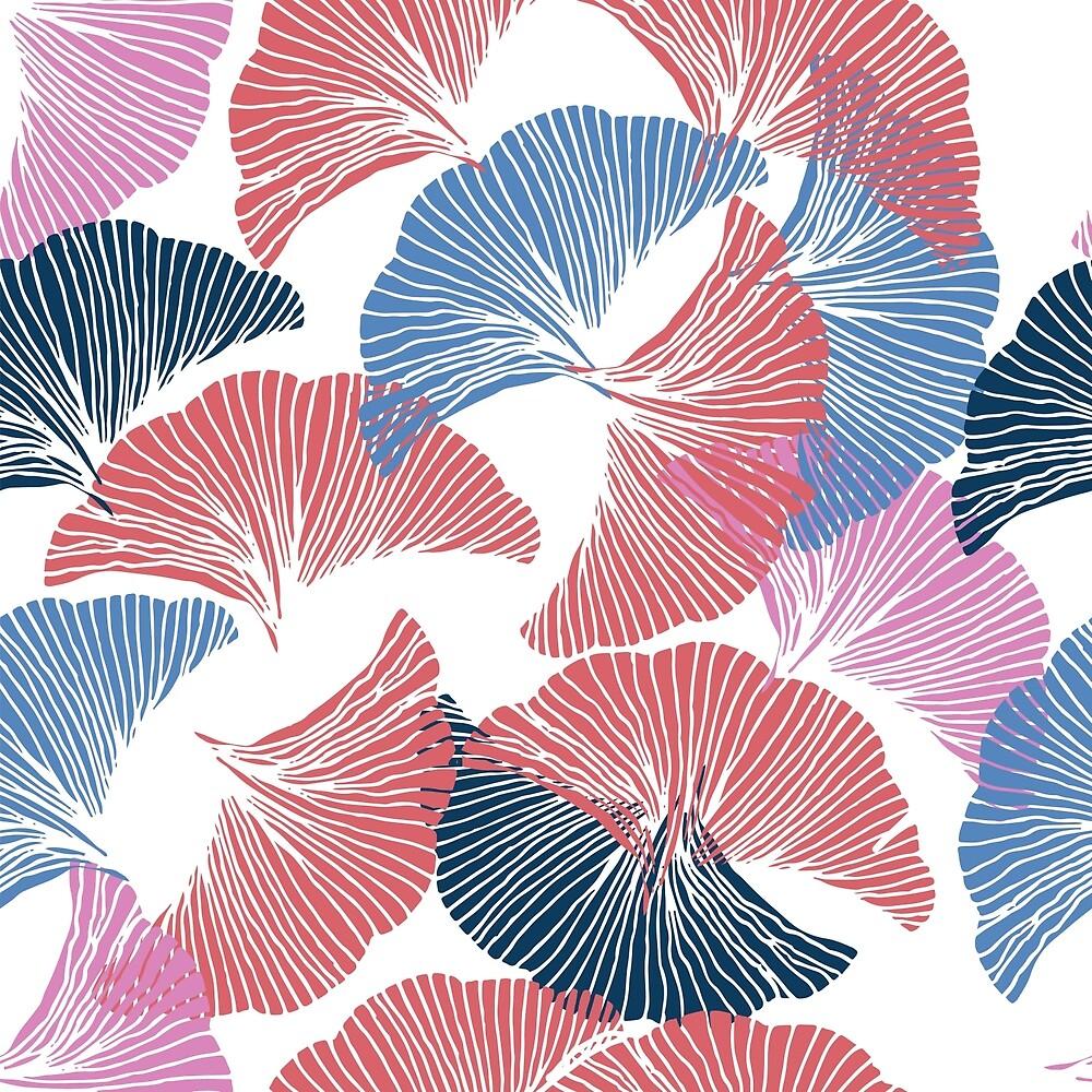 Сolorful seamless pattern. Hand drawn leaf of Ginkgo Biloba. by TrishaMcmillan