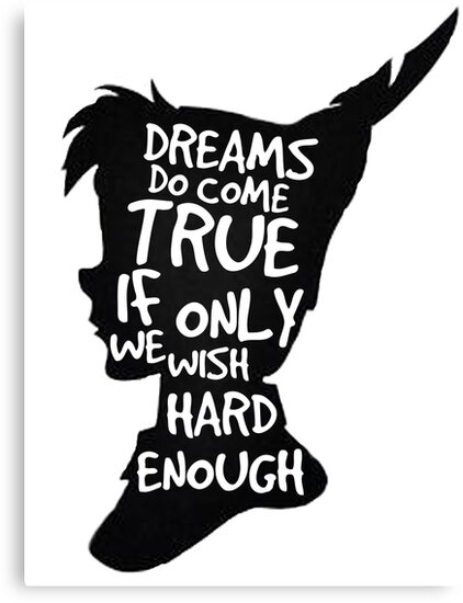 Quot Dreams Peter Pan Quote Silhouette Quot Canvas Print By