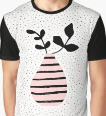 Pink Stripes and Branches Graphic T-Shirt