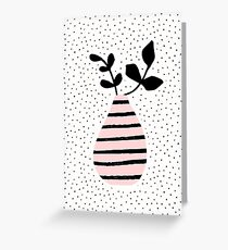Pink Stripes and Branches Greeting Card
