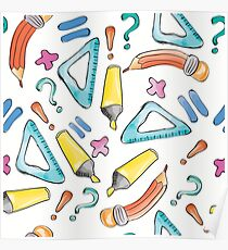 Hand drawn seamless pattern with marker, pen, ruler and rubber Poster