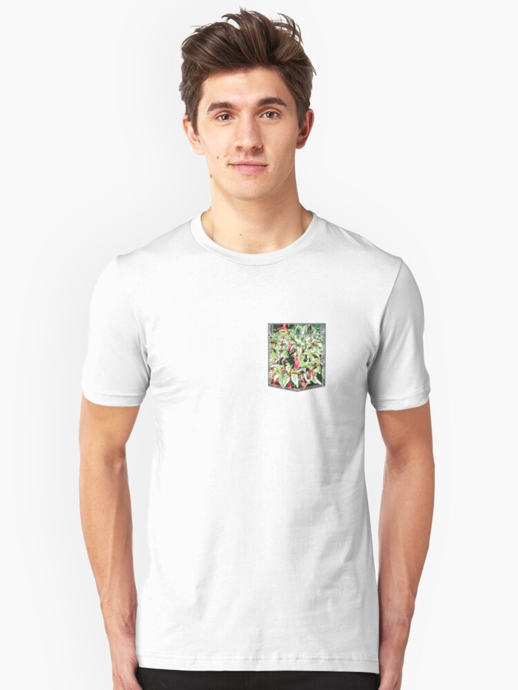 breast pocket with orchids Unisex T-Shirt Front