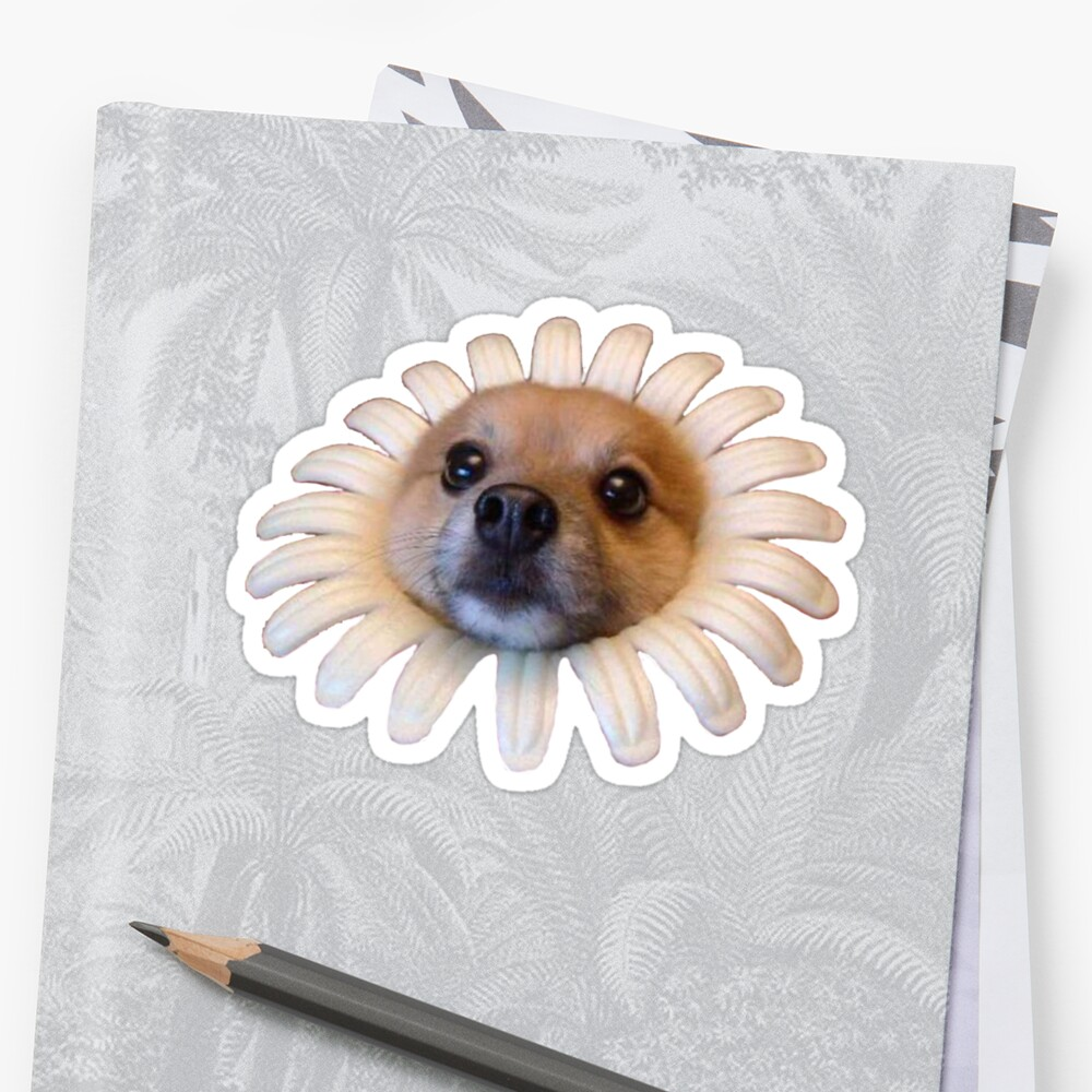 Doggo Stickers: Flower Doggo by Elisecv