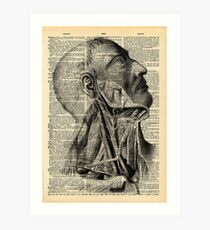 Vintage Dictionary Page Face and Neck  Side Profile Art Print