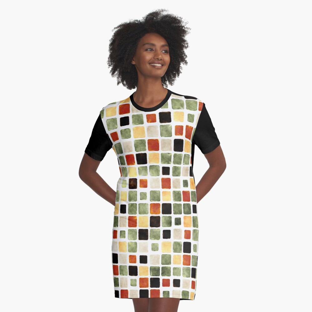 Grunge Pattern Watercolor Tiles Graphic T-Shirt Dress Front