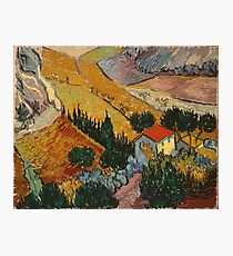 Vincent Van Gogh - Landscape With House And Ploughman 1889 Photographic Print