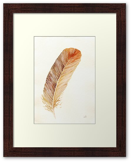 Brown feather study by LisaLeQuelenec