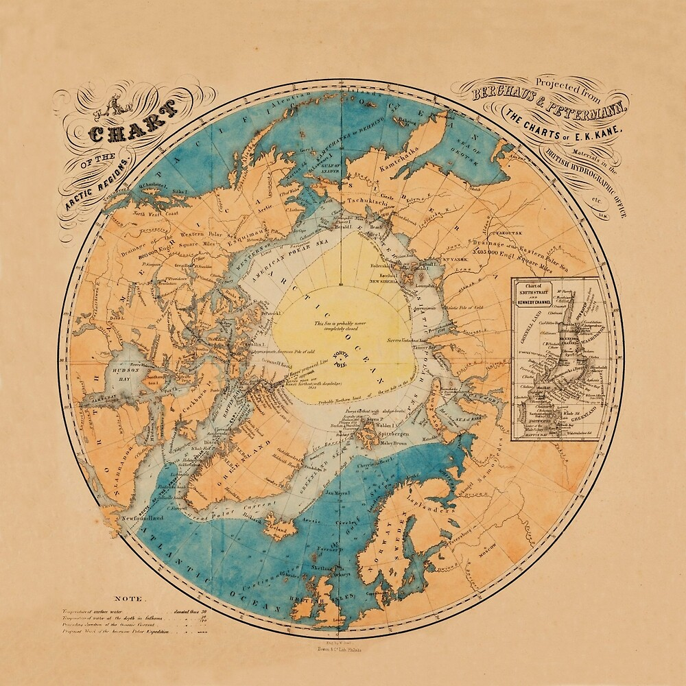 Map Of The Arctic 1860 by mollyfare