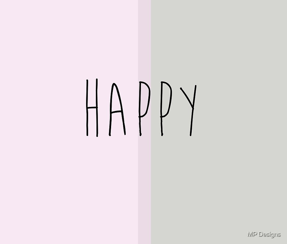 Happy (Grey and Pink) by Marla Perelmuter