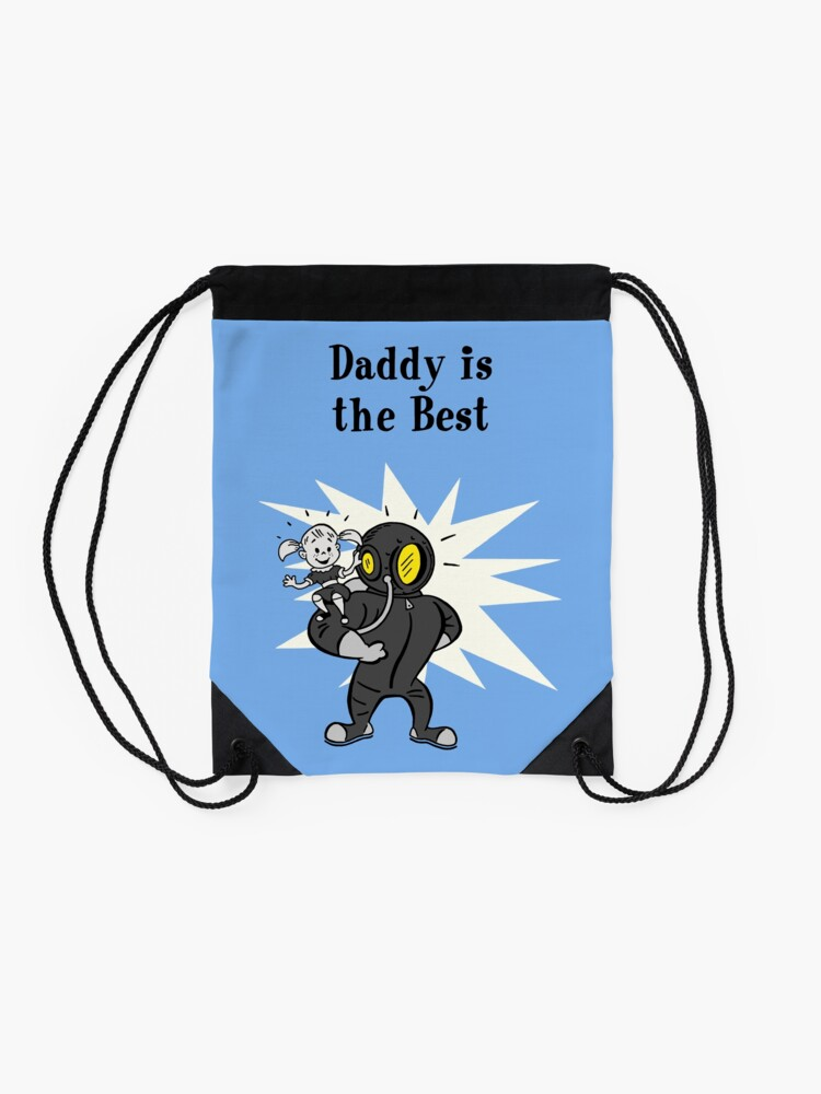 Alternate view of BioShock – Daddy is the Best Poster (Black) Drawstring Bag