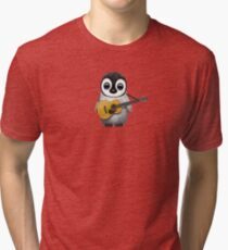 Musical Baby Penguin Playing Guitar Pink Tri-blend T-Shirt