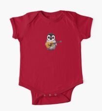 Musical Baby Penguin Playing Guitar Red One Piece - Short Sleeve