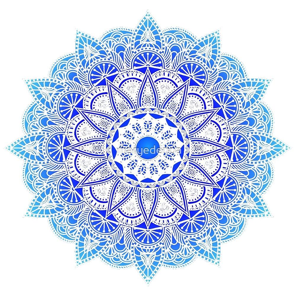 Blues Watercolor Mandala by maryedenoa