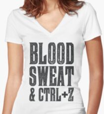 Blood, Sweat & Ctrl + Z Women's Fitted V-Neck T-Shirt
